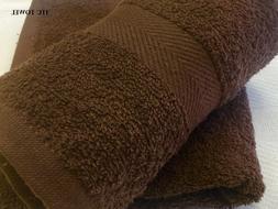 120 NEW BROWN HAND SALON SPA GYM TOWELS DOBBY BORDER RINGSPU