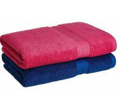 solimo 2 Piece 500 GSM Cotton Bath Towel Set - Iris Blue and