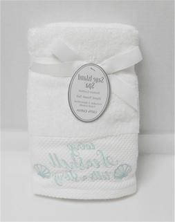 Sage Island Spa 2 White Hand Towels Embroidered Every Seashe