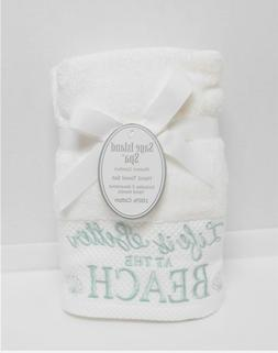 Sage Island Spa 2 White Hand Towels Embroidered Life Is Bett