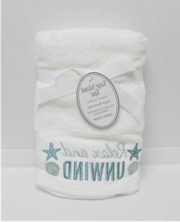 Sage Island Spa 2 White Hand Towels Embroidered RELAX & UNWI