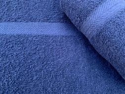 24 NEW BLUE SALON SPA GYM TOWELS DOBBY BORDER RINGSPUN 16X27