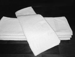 24 NEW WHITE SPA GYM SALON HAND TOWELS CAM BORDER 100% COTTO