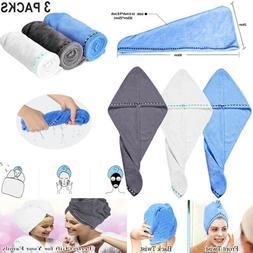 3x  Microfiber Towel Quick Dry Hair Magic Drying Turban Wrap