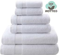 Absorbent and Soft Bathroom Sets, 6 Piece Towel Set, Hotel &