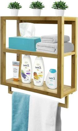 Bamboo Wall Shelf Towel Rack Bar Wall Mounted Storage for Ba
