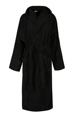 Black Luxury Hooded Bath Robe Men 100% Terry Cotton Toweling