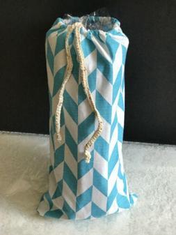 Blue and White Chevron  Towel bag w/vinyl insert - for spa p