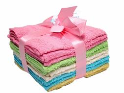 DELUXE SOFT COTTON WASHCLOTHS TOWELS 10PC COLORED SET HOME B