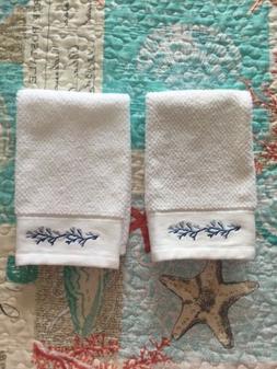 Sage Island Spa Hand Towels 2-Pack  White w/ Blue Coral NW/O