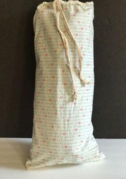 Ivory Blue Pink Towel bag w/vinyl insert -Home & Heart - for