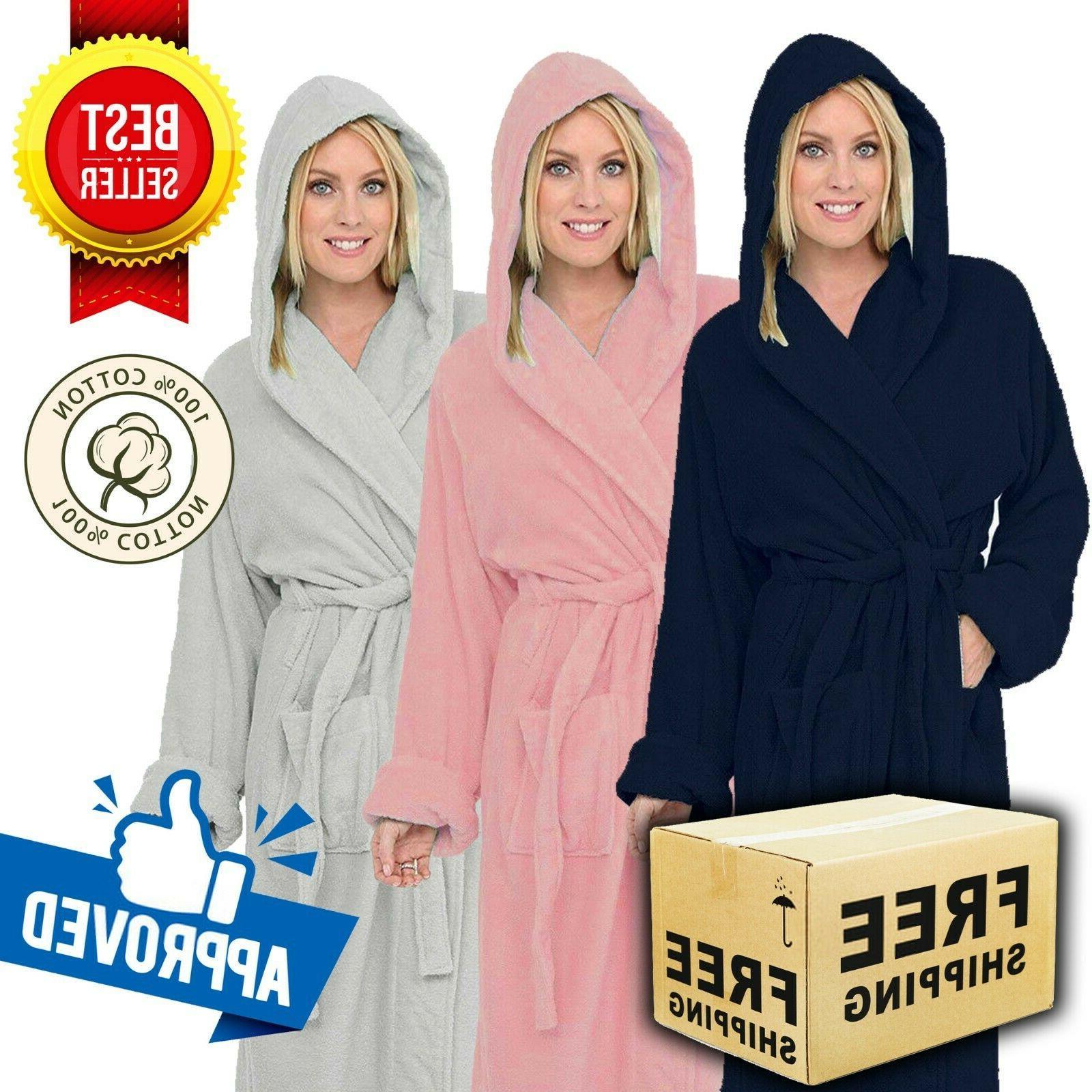 luxury egyptian cotton hooded bath robe unisex