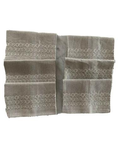 new spa circle embroidered guest towel 100