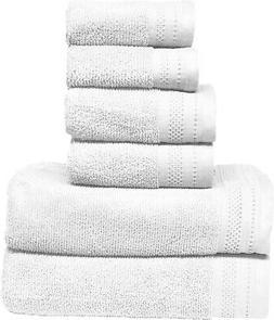 Luxurious Spa - 6 Piece White Soft Plush Bath Towel Set 100%