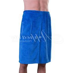 Appearus Men's Plush Fleece Spa Shower Body Wrap / Navy Blue