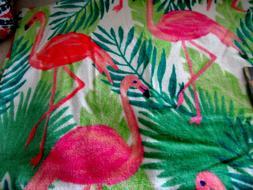 "Nicole Miller Pink Flamingo Beach Towel Palm Leafs 36"" x 68"""