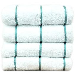 100% Cotton Pool Beach Towels - Sea Green - Stripe  - Set of