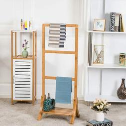 Spa Bamboo Towel Rack Stand Free Standing Bottom Shelf Bathr