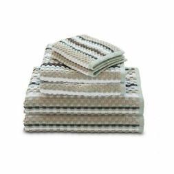 Waffle Check 6-Piece Cotton Bath Towel Set Spa Blue