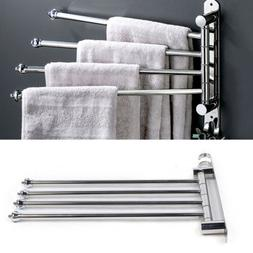 Wall Mounted Bathroom 4 Bar Towel Rack Swivel Spa Face Towel